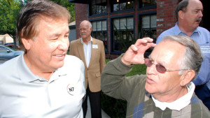 Billy Mills listens to Gene Gurule (right), who as a 1964 San Jose State graduate competed against Mills in the Olympic Trials 10,000-meter run before the 1964 Tokyo Games.