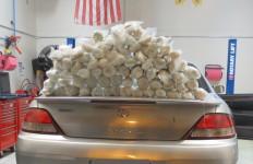 The 2001 Toyota Solara with methamphetamine bundles weighing 82.4 pounds. Courtesy Border Patrol