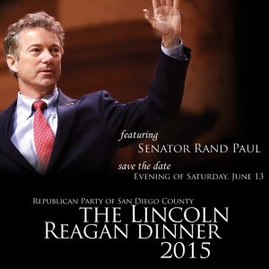 Kentucky Sen. Rand Paul, a prospective presidential candidate, has been booked for 2015 Lincoln Reagan Dinner in San Diego. Image via GOP Facebook