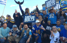 Chargers fans gathered for rally at Qualcomm Stadium before meeting of stadium advisory group. Photo by Chris Stone