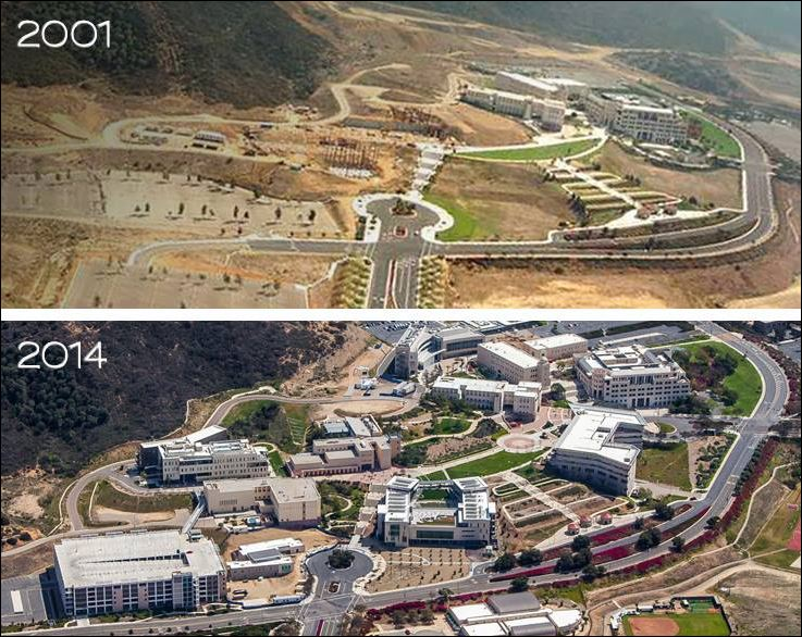 Photos from 2001 and 2014 show how Cal State San Marcos has grown. Courtesy of the  university's Facebook page
