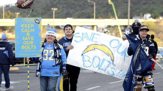 Charger fans show their colors during a rally to keep the Bolts in San Diego. Photo by Chris Stone