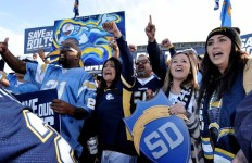 Fans rally outside Qualcomm Stadium before the Citizens' Stadium Advisory Group forum. Photo by Chris Stone