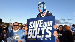 Necali Bilches, 8, came out to Qualcomm Stadium to express is support for the Chargers. Photo by Chris Stone