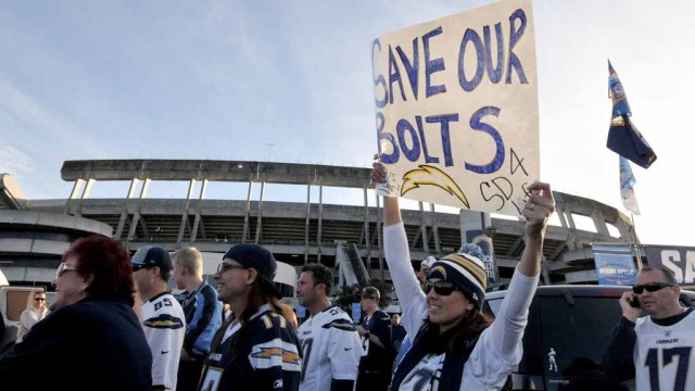 Several fans had signs to show their support of the Chargers staying in San Diego. Photo by Chris Stone