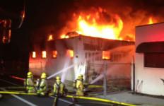 Heartland Fire & Rescue crews battle the fire in El Cajon. Photo by  Heartland Fire Marshall Chris Jensen