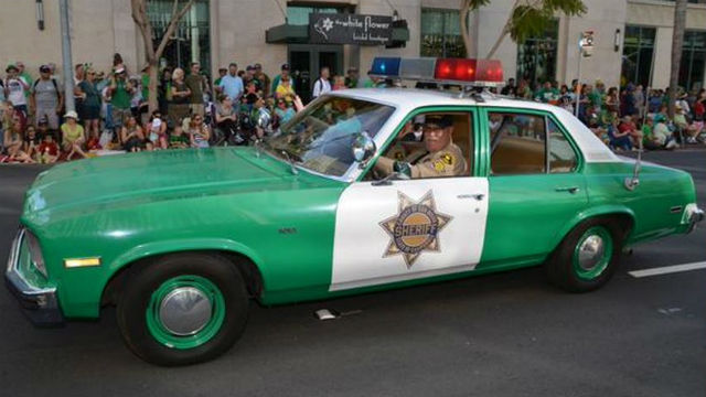 A classic San Diego Sheriff's cruiser in the St. Patrick's Day parade on Sunday. Courtesy sheriff's department