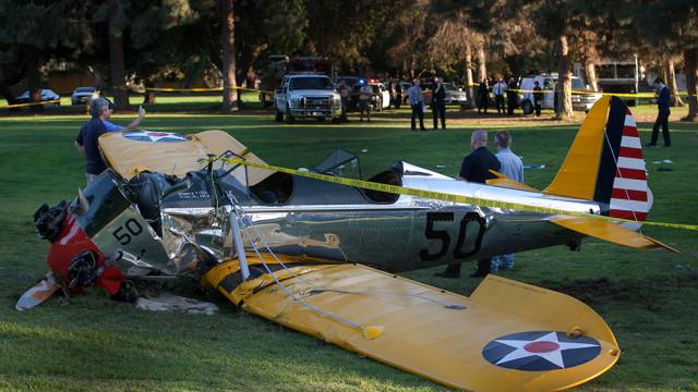 Wreckage of Harrison Ford's Ryan ST3KR. Photo by John Schreiber of MyNewsLA.com