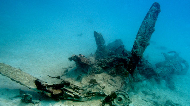 Submerged wreckage of a Navy SB2C Helldiver aircraft. Photo by Eric Terrill of Scripps Oceanography