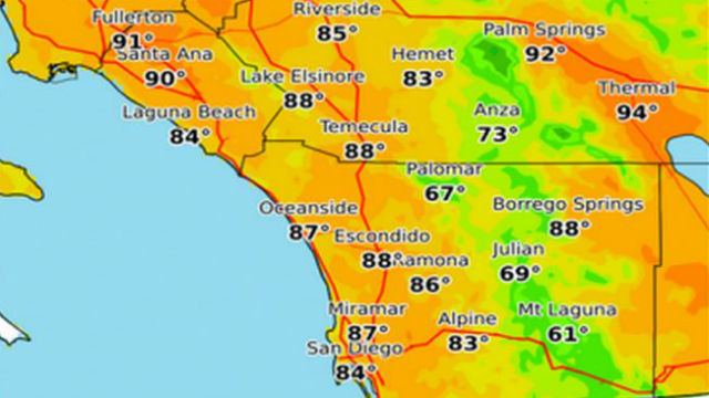 San Diego Weather Map Santa Anas Bringing 90 Degree Temperatures to San Diego   Times of