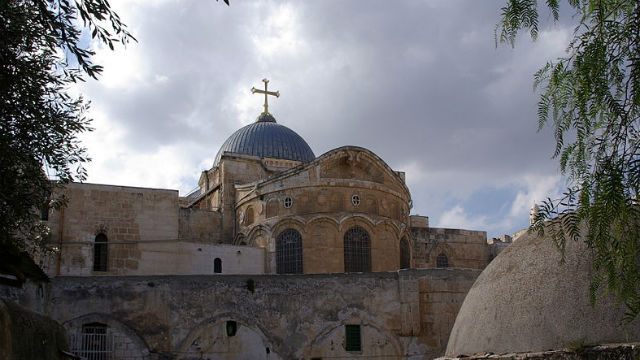 The Church of the Holy Sepulchre in Jerusalem. Photo by Berthold Werner via Wikimedia Commons