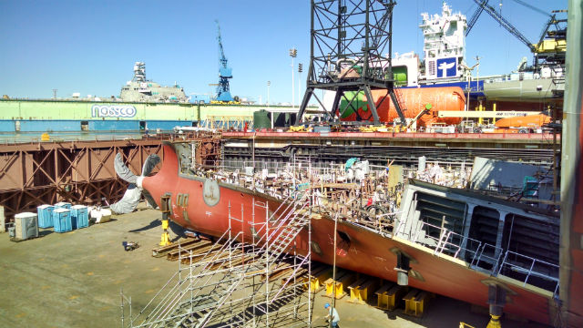 A tanker under construction at the General Dynamics NASSCO shipyard in Barrio Logan. Photo by Chris Jennewein