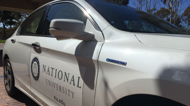 A Honda Accord plug-in hybrid in National University's new fleet. Photo courtesy National University