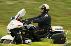 An Oceanside Police officer on a motorcycle. Courtesy Oceanside Police