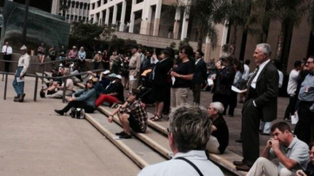 The crowd gathered to watch the free San Diego Opera performance. Photo from opera's Twitter feed