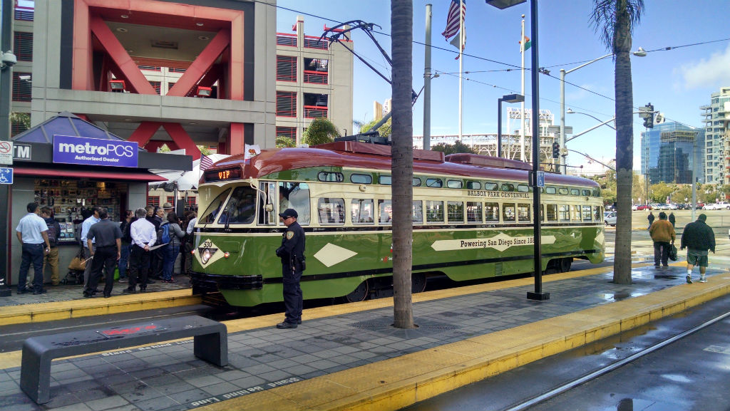 Centennial Car 530, a restored PCC trolley, prepares for its first public trip on the Silver Line. Photo by Chris Jennewein