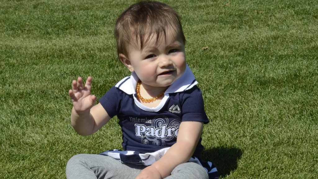 One-year-old Cassidy Cates from Oceanside was one of the youngest Padre fans at Peoria Sports Complex on Saturday.