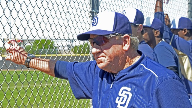 Padre veteran Randy Jones watches the action in a B Squad game in Peoria.