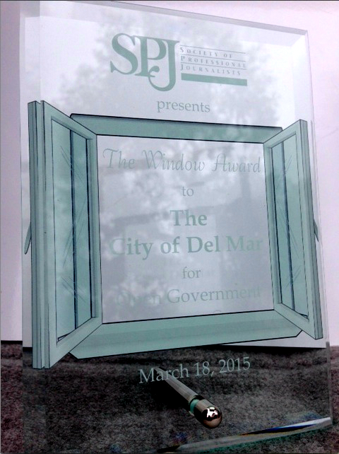 Inaugural Window Award, won by the city of Del Mar. Image via San Diego SPJ