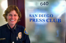 Police Chief Shelley Zimmerman at the entrance to the San Diego Press Club in the historic Sprekels Building downtown. Photo by Chris Jennewein