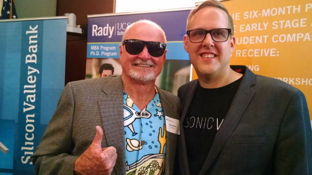 EvoNexus CEO Rory Moore (left) with Sonic VR CEO Jason Riggs. Photo by Chris Jennewein