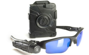 TASER's AXON flex Camera with controller and glasses. Courtesy TASER