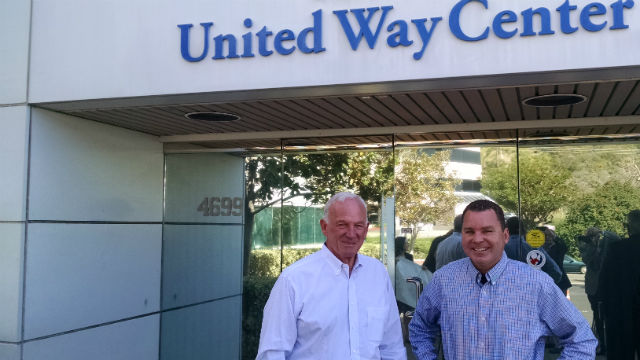 Jerry Sanders (left) and Richard Barrera outside the United Way office in Murphy Canyon. Photo by Chris Jennewein