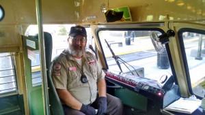 Train Operator Allan Ingram at the controls of Centennial Car 530. Photo by Chris Jennewein