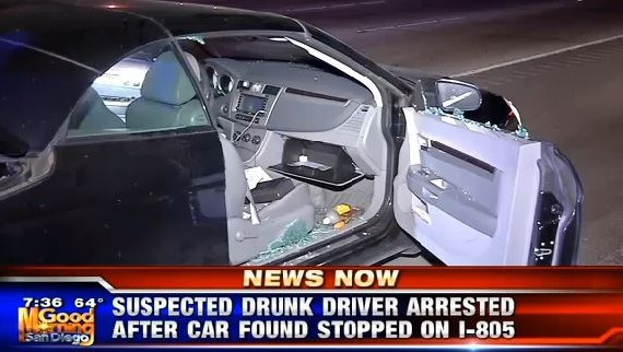 The car that was seen slowly moving down I-805 due to the driver passing out. Courtesy of KUSI broadcast.