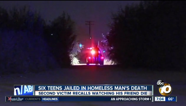 The scene where a homeless man was allegedly murdered by six teenagers. Courtesy of ABC 10 News.
