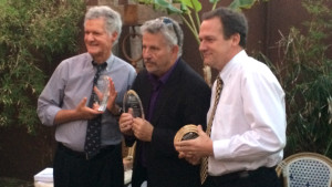 Sunshine Award winners (from left) were Paul Kruerger of NBC 7, J.W. August of NBC 7 and David Gotfredson of CBS8. Ken Stone photo