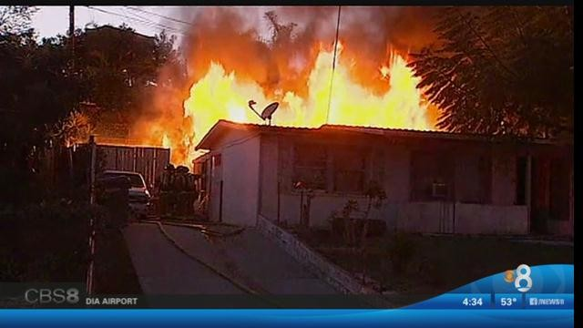 The electrical fire in Vista that destroyed a home. Courtesy of CBS 8.