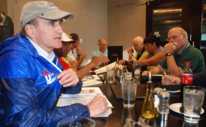 USATF masters track publicist Bob Weiner (left) has concerns about new chairman Steve Miller. Photo by Ken Stone