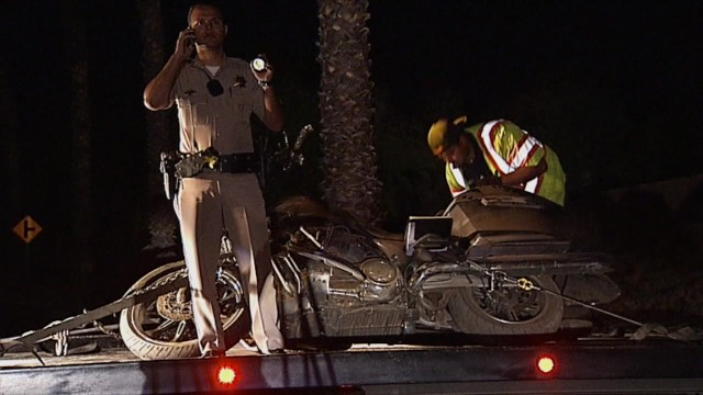CHP officer directing traffic after a fatal motorcycle accident in Bonsall. Photo courtesy of OnSceneTV