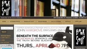 Homepage image of John Hargrove book-signing event at Book Soup in West Hollywood.