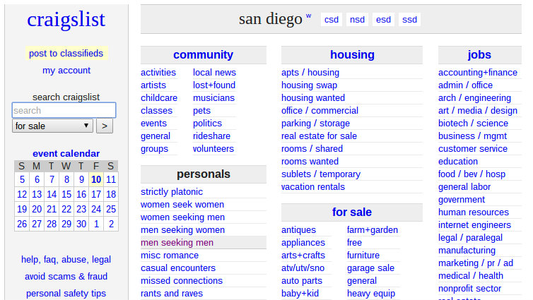 San diego classifies women seeking men