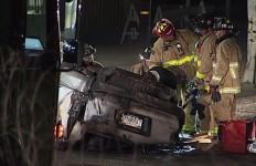 Firefighters at the scene of the rollover crash in Del Mar. Courtesy OnScene.TV