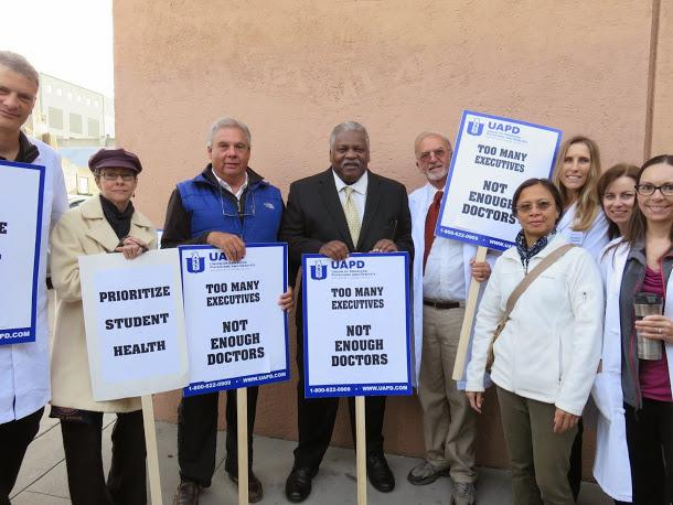 Doctors at UC Berkeley earlier this week. Photo courtesy AFSCME Blog.