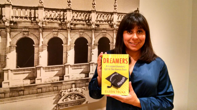 "Eileen Truax with the just released English translation of her book ""DREAMERS."" Photo by Chris Jennewein"