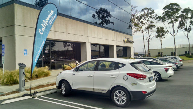 A hydrogen fuel-cell powered Hyundai Tuscon outside the Center for Sustainable Energy. Photo by Chris Jennewein