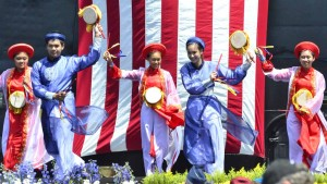 Dancers perform at the USS Midway ceremony.