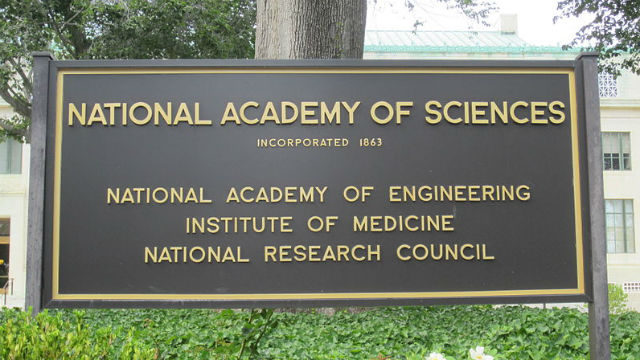 Sign outside the National Academy of Sciences Building in Washington. Photo via Wikimedia Commons