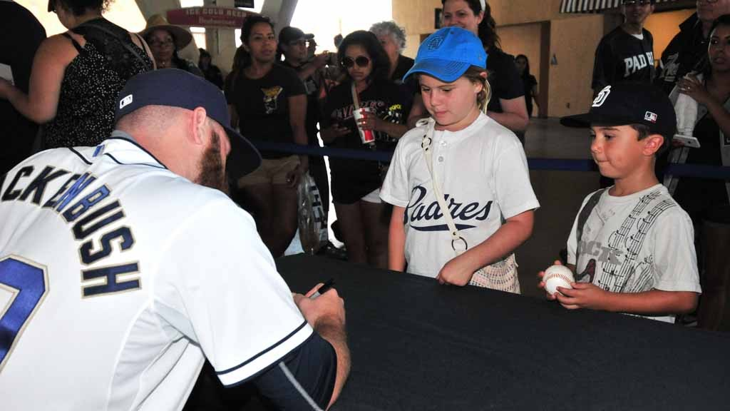 5e2a2d0fe Young fans wait to get an autograph from pitcher Kevin Quackenbush at Padres  FanFest Saturday.