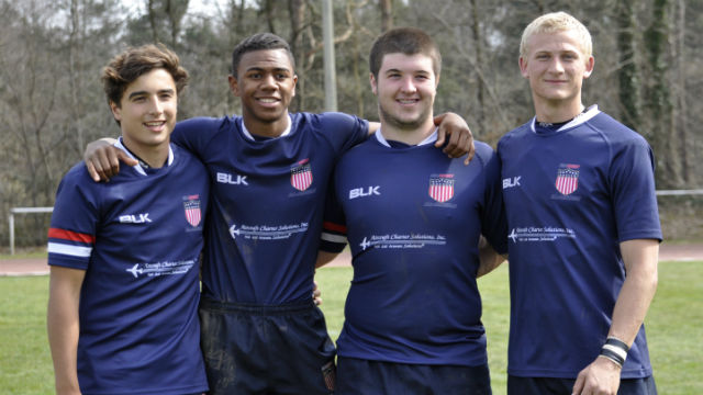 Boy's High School All-American team members Patrick Madden (left), Ryan James, Owen Duvall and Ian Crilly.