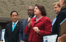 Assembly Speaker Toni Atkins with Councilman Todd Gloria, former councilmen Tony Young and Michael Zucchet celebrating the 'Living Wage' ordinance's 10th anniversary. Photo courtesy of Toni Atkins' office