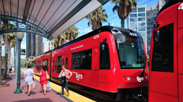 A trolley in downtown San Diego. Courtesy SANDAG