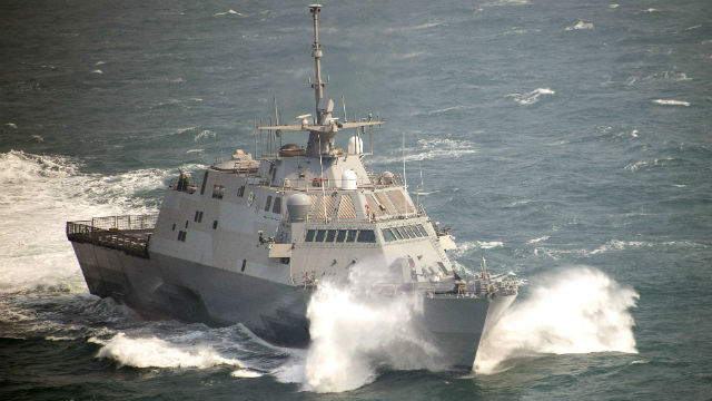 The USS Fort Worth sails west of the Korean peninsula during a naval exercise in March. Navy photo