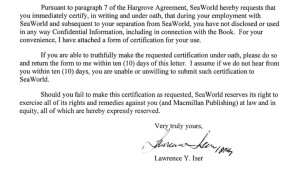 Portion of letter from SeaWorld attorney Lawrence Iser to John Hargrove on Nov. 13, 2014.