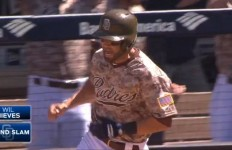 Padres catcher Wil Nieves rounds first after he hit a gran slam in the team's 6-4 win on Sunday. Courtesy of Fox Sports San Diego.