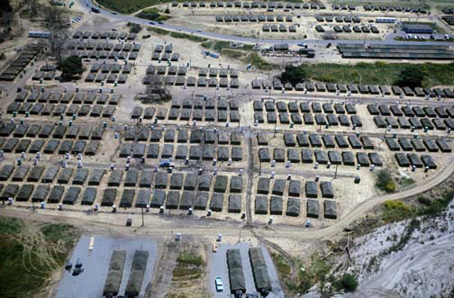 An aerial view of a temporary housing facility at Camp Pendleton for Vietnamese refugees. Photo courtesy of NavalHistory.org